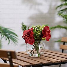 707993 - Peony Amaryllis & Foliage in Fishbowl