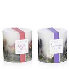 Stoneglow Set of 2 Botanics Floral Pillar Wax Candles