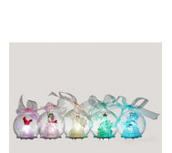 Set of 5 Festive Glass Ornaments