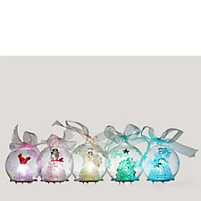 701195 - Set of 5 Festive Glass Ornaments