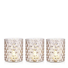 Home Reflections Set of 3 Rose Gold Mercury Glass Holders with LED