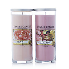 Yankee Candle Set of 2 Peony & Fresh Cut Roses Large Pillars