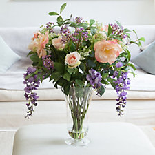 Peony Roses & Wisteria in Large Trumpet Vase