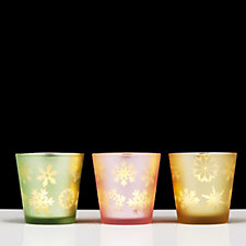 Set of 3 Glass Cups with Laser Cut Pattern & LED T-lights