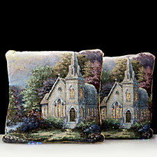 704498 - Santa Express Set of 2 Multi-Coloured LED Church Tapestry Cushions