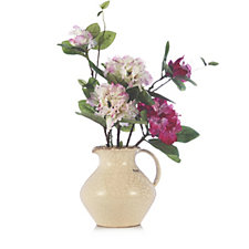 706298 - Peony Potted Rhododendron in Crackle Jug