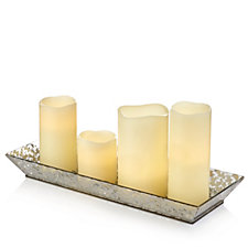 704999 - Home Reflections Set of 4 Flameless Candles in Glass Tray w/Remote Control