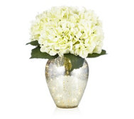 Home Reflections Hydrangea Arrangement in Pre-lit Mercury Effect Glass Vase