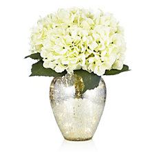 705499 - Home Reflections Hydrangea Arrangement in Pre-lit Mercury Effect Glass Vase