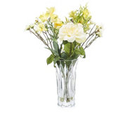 Peony Roses Alstroemeria & Foliage in Cut Glass Vase