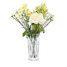 706299 - Peony Roses Alstroemeria & Foliage in Cut Glass Vase