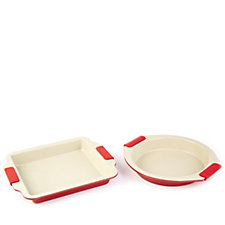 Cook's Essentials Set of 2 Non Stick Ceramic Baking Trays with Silicone Grips