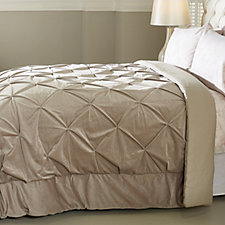 Alison Cork Pintuck Velvet Bedcover with Linen Cotton Reverse