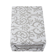 Cozee Home Damask Scroll Print Fleece Duvet Set with Deep Fitted Sheet