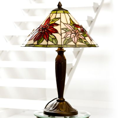 Perfect Tiffany Style Hand Crafted Poinsettia Table Lamp QVC UK