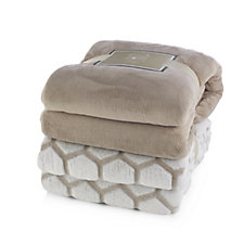 Cozee Home Set of 2 Luxury Soft Plain & Patterned Throws 150cm x 200cm