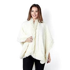 Cozee Home Faux Fur Trim Angel Plush Wrap