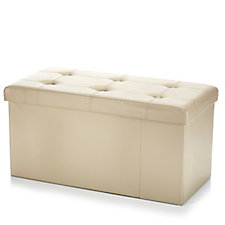 804208 - Folding Storage Ottoman Bench with Rigid Dividers