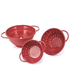 Cook's Essentials Set of 3 Collapsible Colanders & Bowls