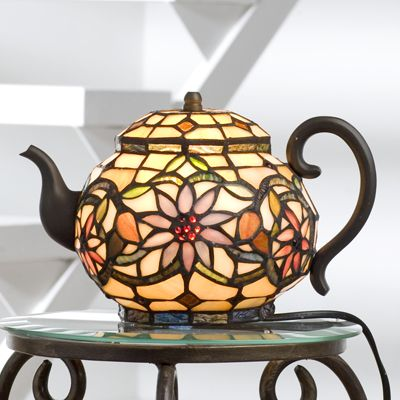 Tiffany Style Handcrafted Teapot Novelty Lamp   QVC UK