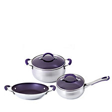 Cook's Essentials Colour Smart 3 Piece Stainless Steel Pan Set