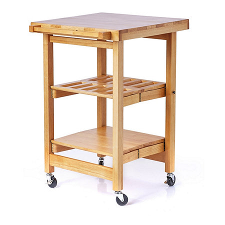 Folding Island The Entertainer Kitchen Trolley with Butchers Block Style Top - 804515 QVCUK.com
