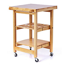 804515 - Folding Island The Entertainer Kitchen Trolley with Butchers Block Style Top