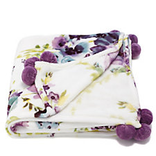 Cozee Home Watercolour Floral Plush Throw with Pom Poms