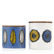 BundleBerry by Amanda Holden Set of 2 Storage Jars with Retro Prints