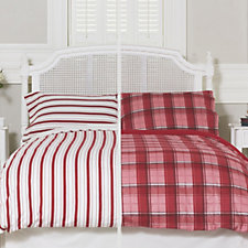Northern Nights Set of 2 Tartan & Stripe Reversible Flannel 4 Piece Duvet Sets