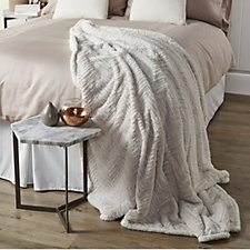 Kelly Hoppen Chevron Faux Fur & Sherpa Reversible Throw