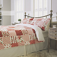 Cozee Home Rose Patchwork Print Fleece 4 Piece Duvet Set