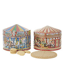 807726 - Churchill's Confectionery Set of 2 Carousel Tins with Biscuits