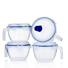 Lock & Lock 4 Piece Vented and Non Vented Bowl Set with Handles