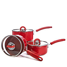 804329 - Cook's Essentials Aluminium 3 Piece Covered Saucepan Set