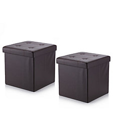 Pack of 2 Folding Storage Ottomans