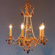 Schonbek 5 Light Chandelier with Jewel Tones & Crystal Highlights
