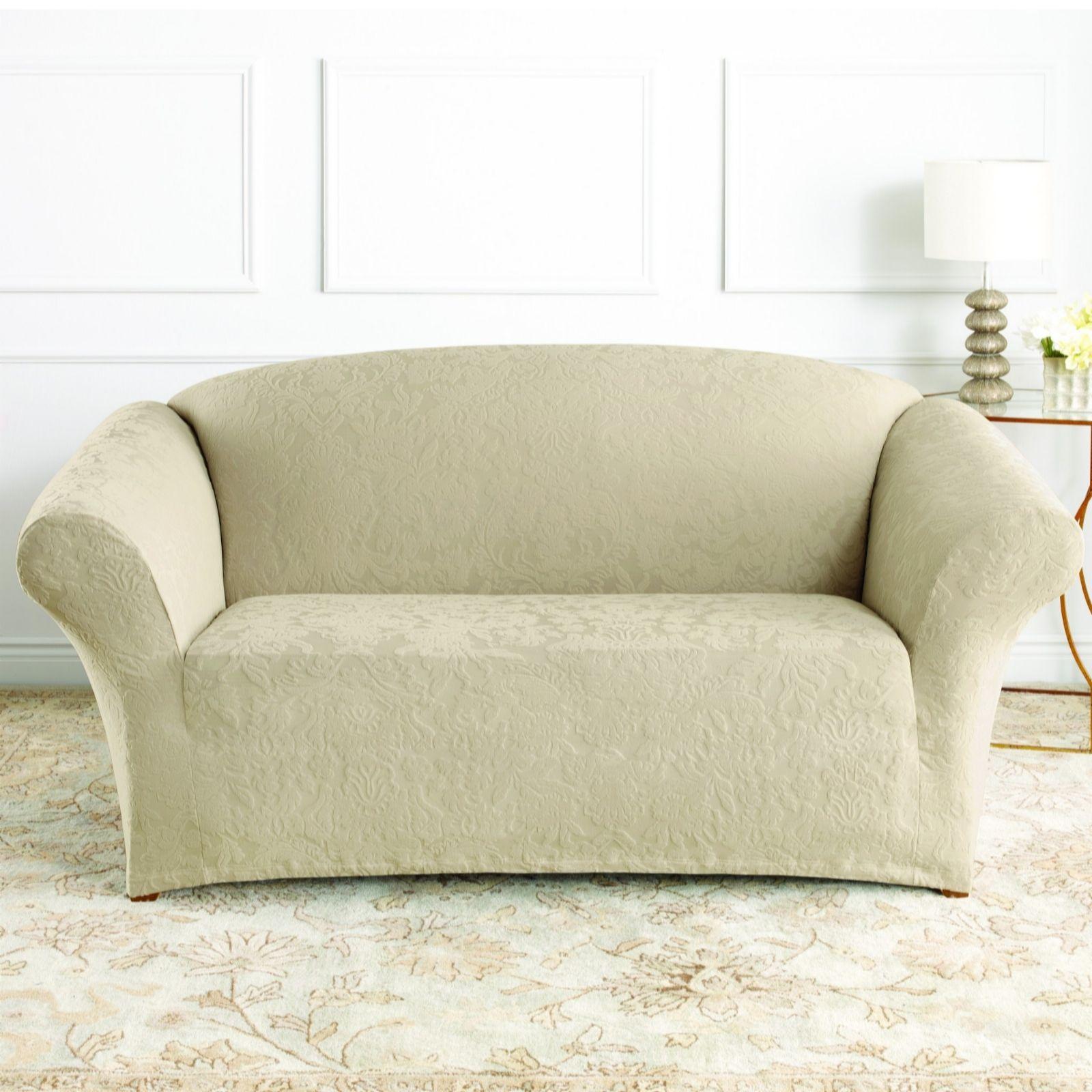Damask Sofa Slipcover Sure Fit Stretch Jacquard Damask Box