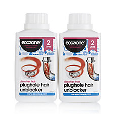 Ecozone Set of 2x250ml Plughole Hair Unblocker