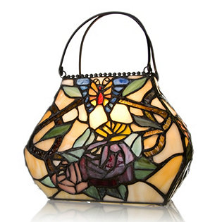 Tiffany Style Handcrafted Sunkissed Rose Handbag Accent Lamp 827950 QVCUK
