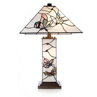 Tiffany Style Handcrafted Deco Butterfly Lit Base Table Lamp 832750 QVCUK