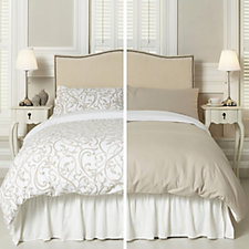 Northern Nights Set of 2 Scroll & Plain Reversible 4 Piece Flannel Duvet Sets