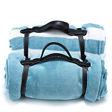 Cozee Home 2 Pack Fleece Travel Blankets with Carry Handle