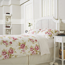 Northern Nights Heavyweight Flannel Rose Print Reversible 4 Piece Duvet Set