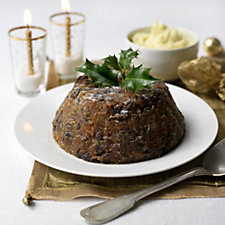 H Forman & Son Christmas Pudding in Porcelain Dish with Jar of Brandy Butter