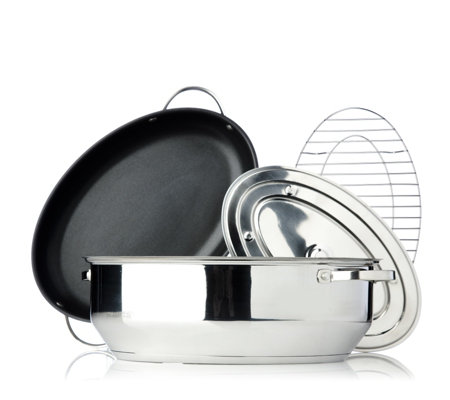 cook's essentials Stainless Steel 8.4L Oval Roaster and Trivet