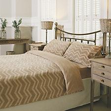 Cozee Home Tonal Chevron Stripe Fleece Duvet Set with Deep Fitted Sheet