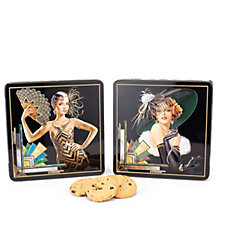 Churchill's Confectionery Annabel & Olivia Art Deco Tins with Biscuits