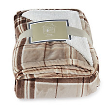 Cozee Home Plush Tartan Sherpa Reverse Throw