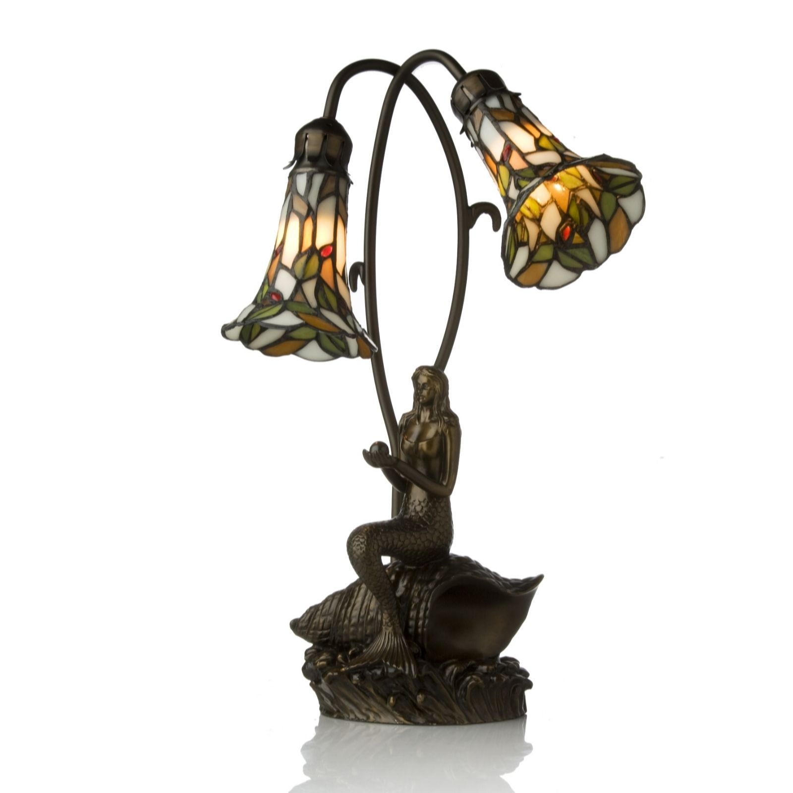 Tiffany Style Handcrafted Mermaid Double Shade Table Lamp   QVC UK